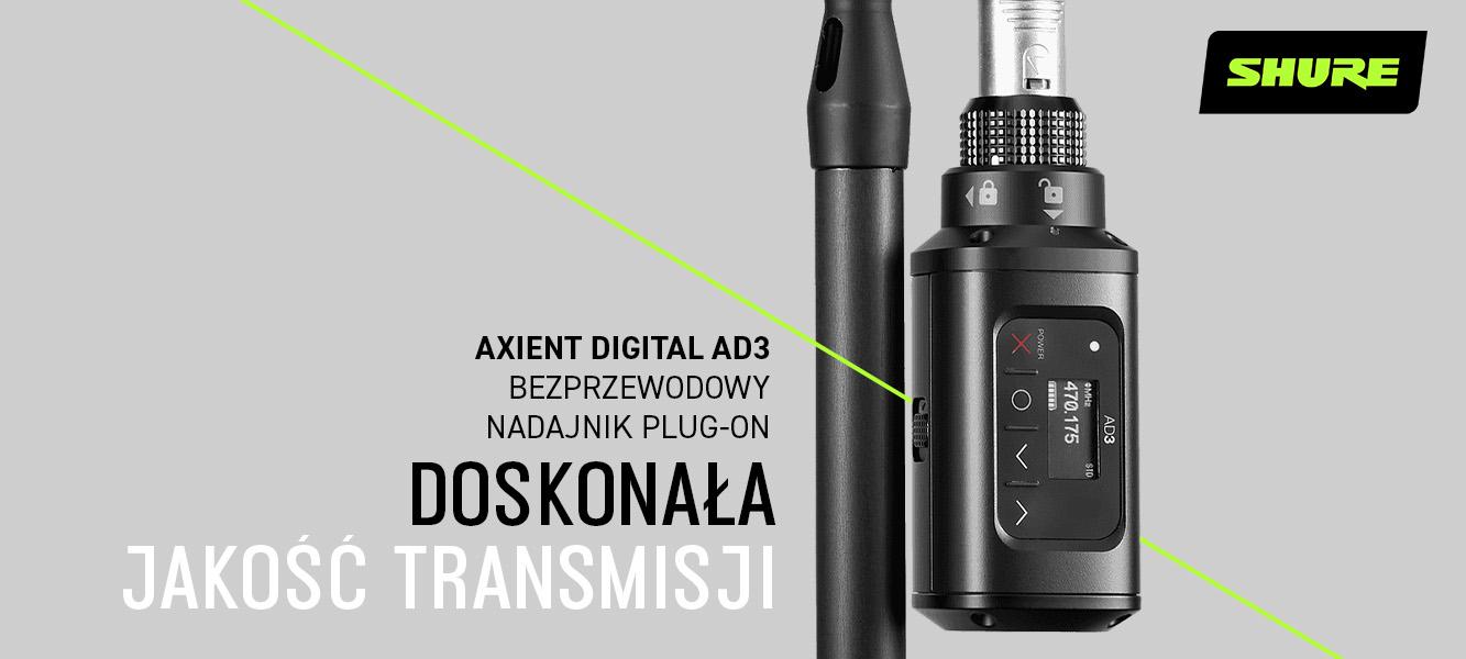 SHURE AD3 – Nadajnik Plug-On dosystemu Axient Digital
